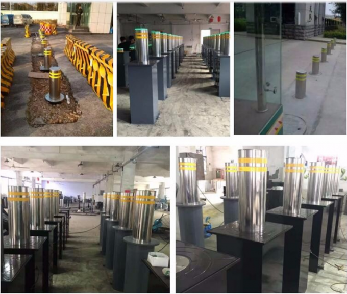 High Lifting Speed Hydraulic Rising Bollards Stainless Steel Retractable Traffic Road Safety