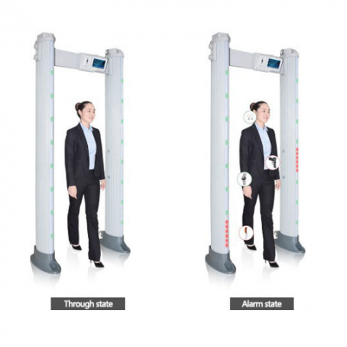 Touch Screen Door Frame Metal Detector , Pass Through Metal Detector 24 Detecting Zone
